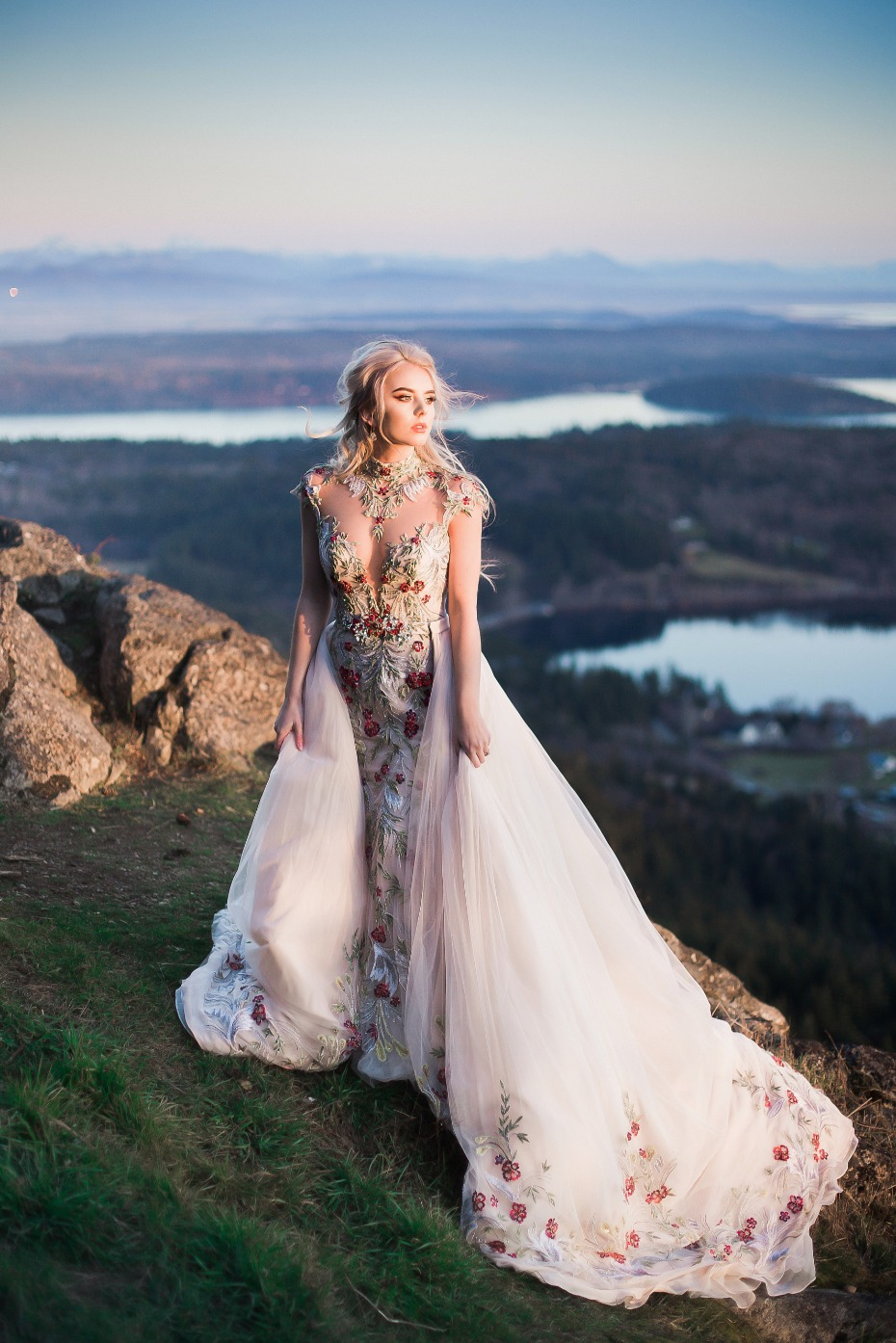 dreamy over the top wedding gown and a view to die for
