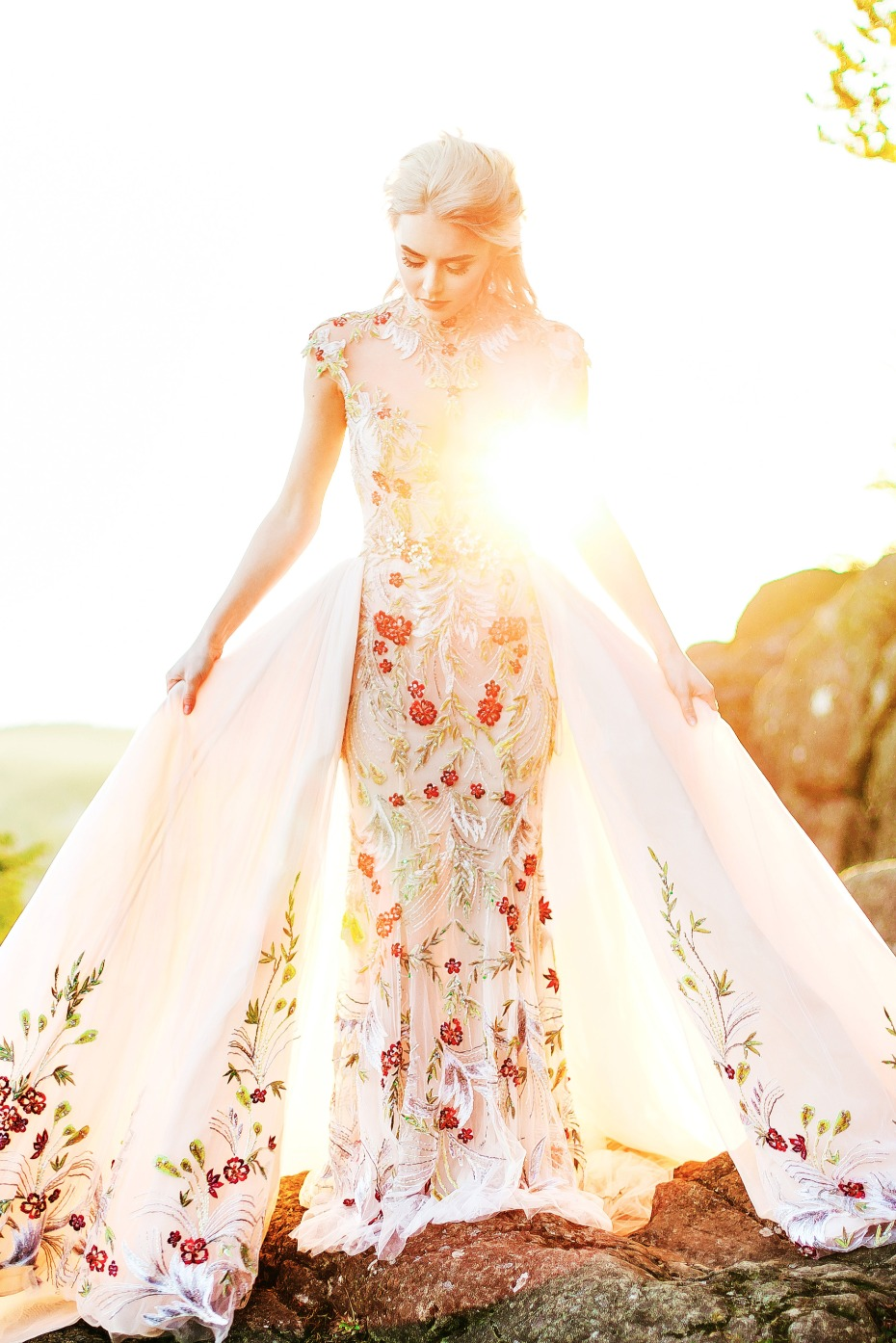 wedding gown with skirt attachment