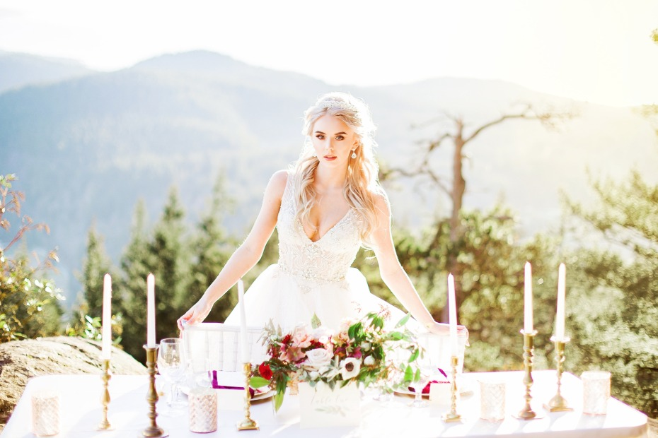 romantic mountain top wedding reception