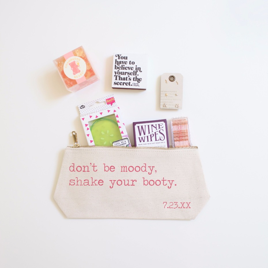 Bridesmaid Gift Ideas, Cosmetic Pouches from Wedding Chicks Shop
