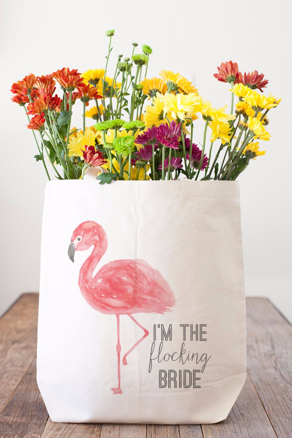 Flocking bride tote bag from Wedding Chicks Shop