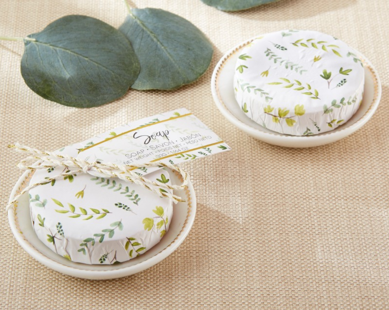 Kate Aspen's Botanical Wrapped Soap with Ceramic Trinket Dish to thank guests for attending your botanical garden wedding!