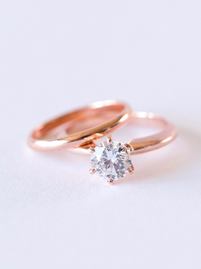 Rose gold engagement and wedding rings: for the truly on trend bride.