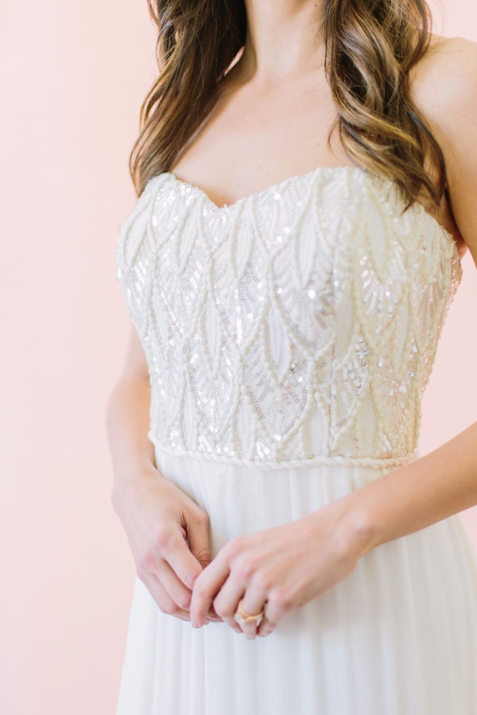 strapless sequin beaded lace wedding dress