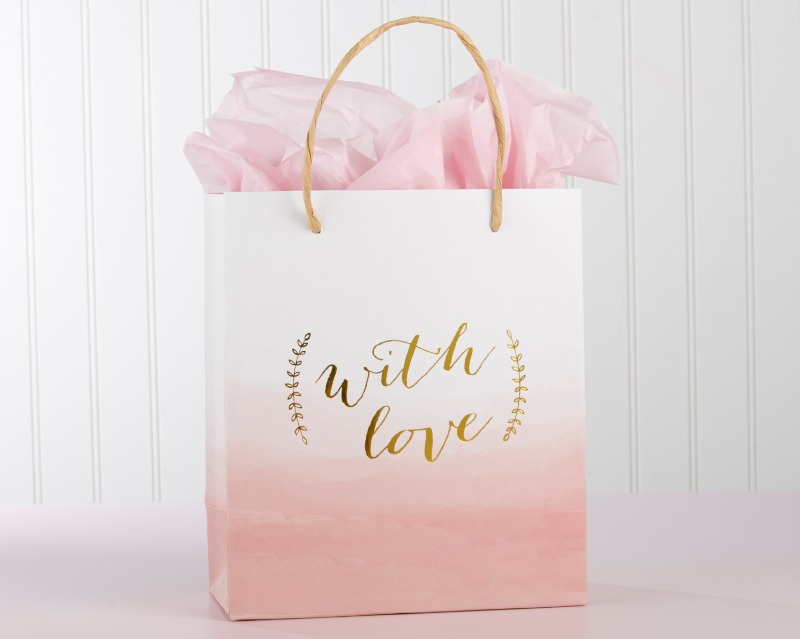 As wedding welcome bags or wedding gift bags, our Kate Aspen With Love Pink Watercolor Gift Bag comes in a set of 12 and has the timeless