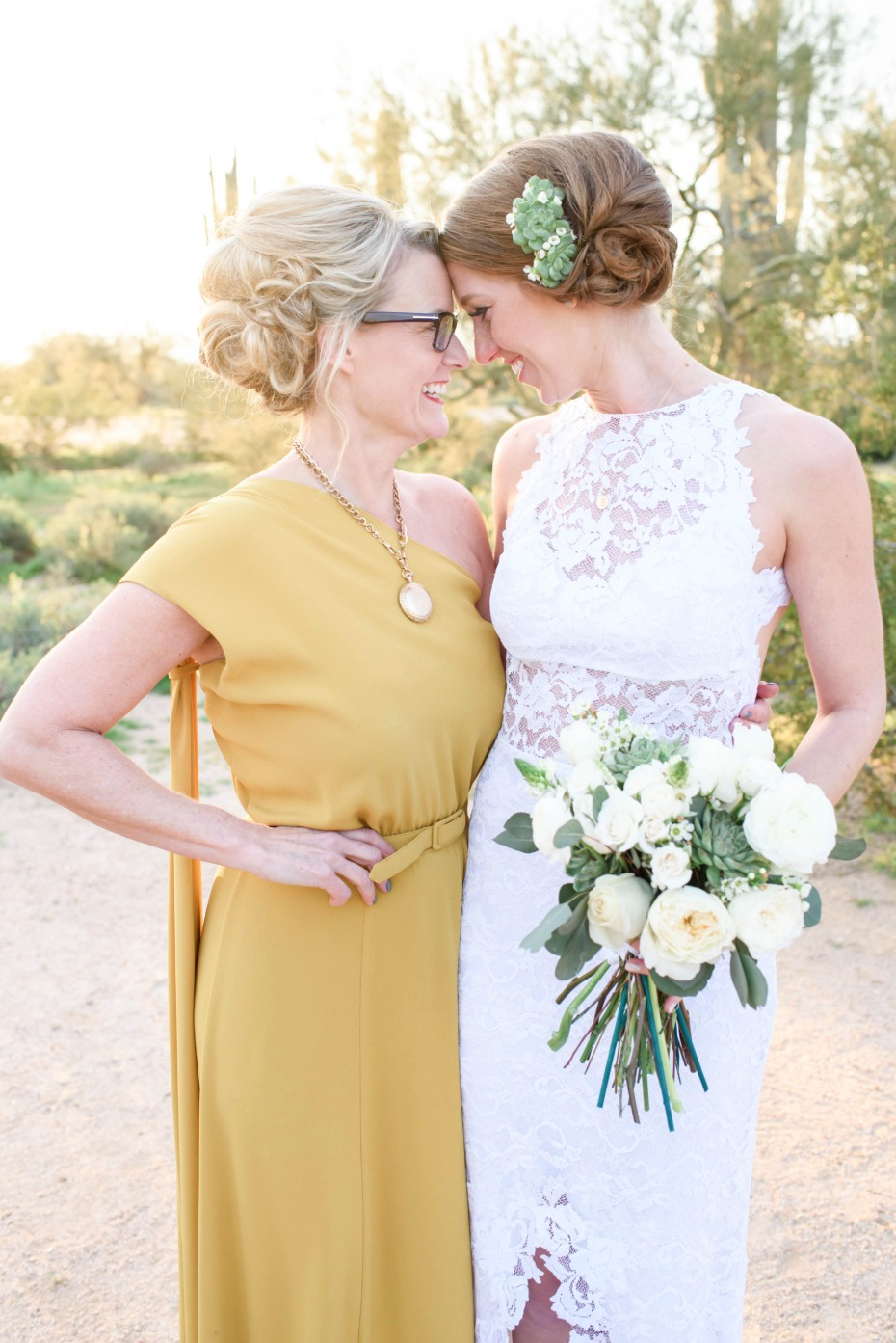 Cute portrait of the mom and the bride