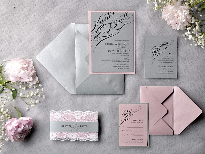 Simple & elegant calligraphy wedding invitation in grey and pink