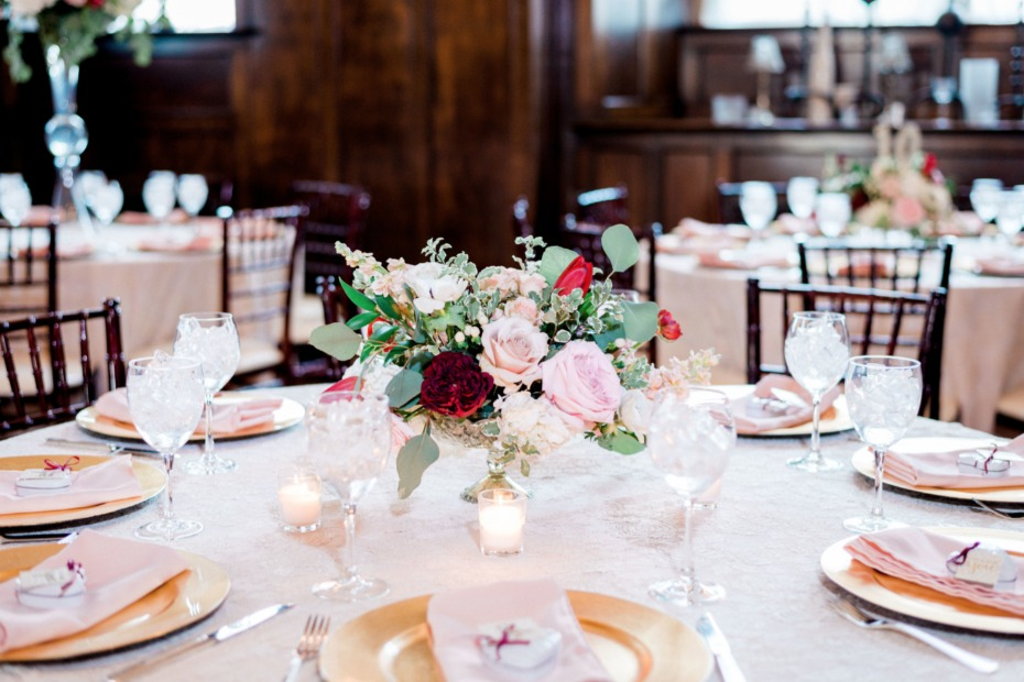 gold blush and red wedding reception