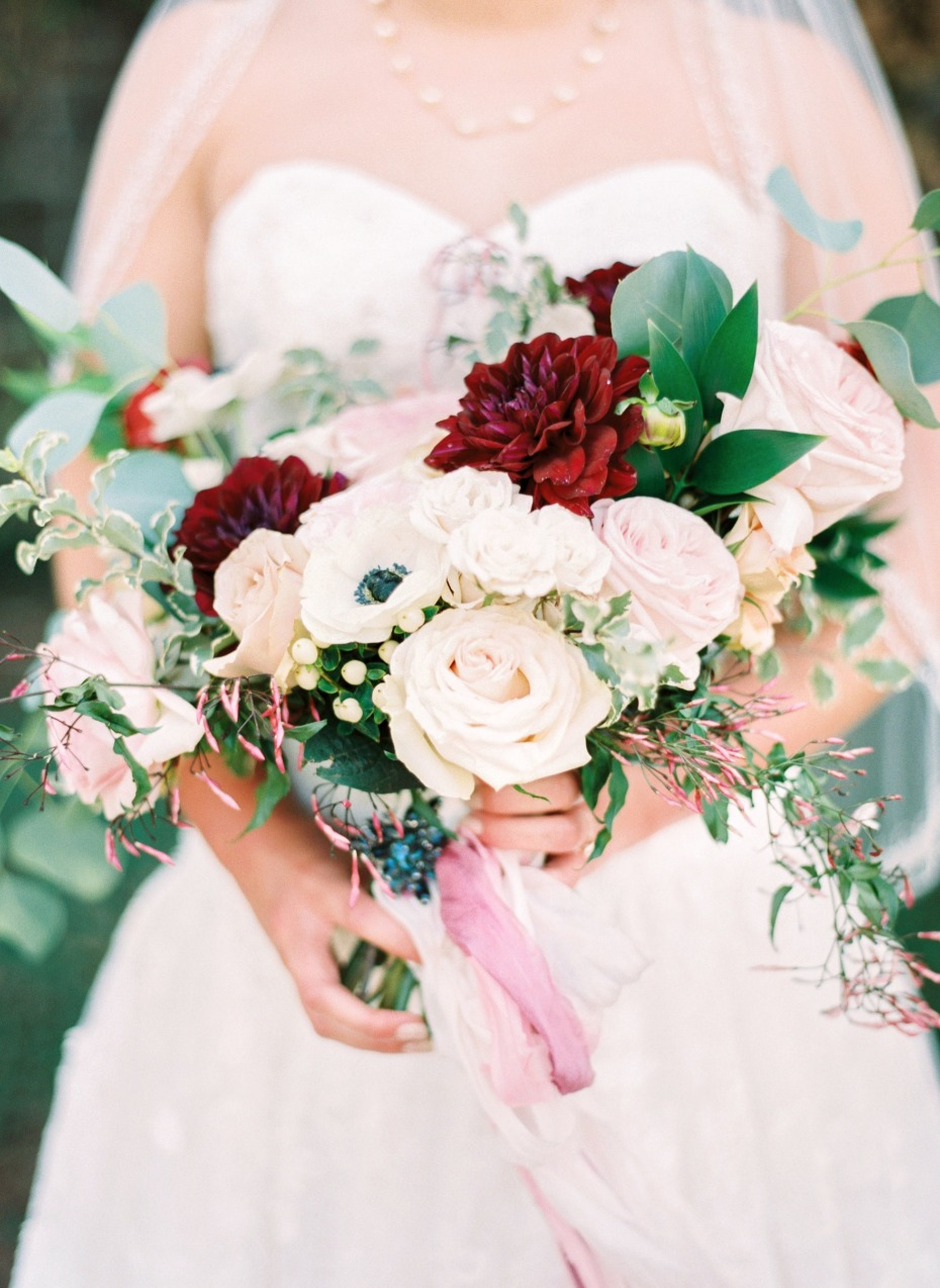 classic blush and red wedding bouquet