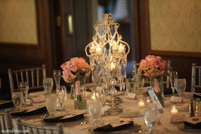 Lovely Wedding Tables with Candelabras & Tea Lights