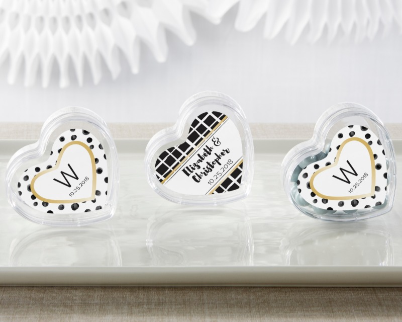 Create your own candy favors using these personalized wedding favor containers sold in sets of 12 to suit events of all sizes!