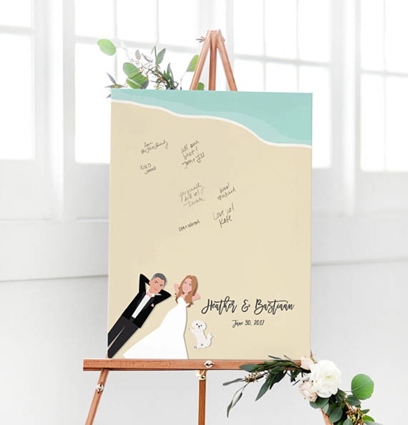Miss Design Berry's beach wedding guest book alternative is perfect for a destination beach wedding. We custom illustrate the couple