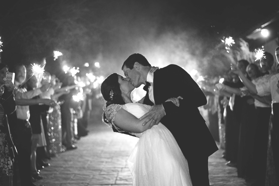dramatic sparkler wedding exit