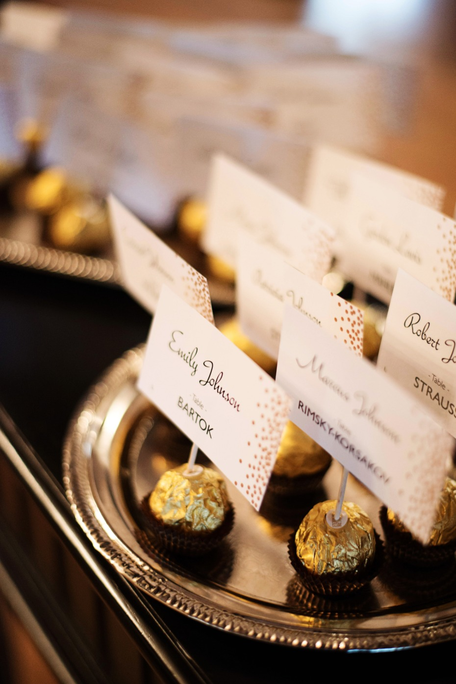 chocolate escort card holders