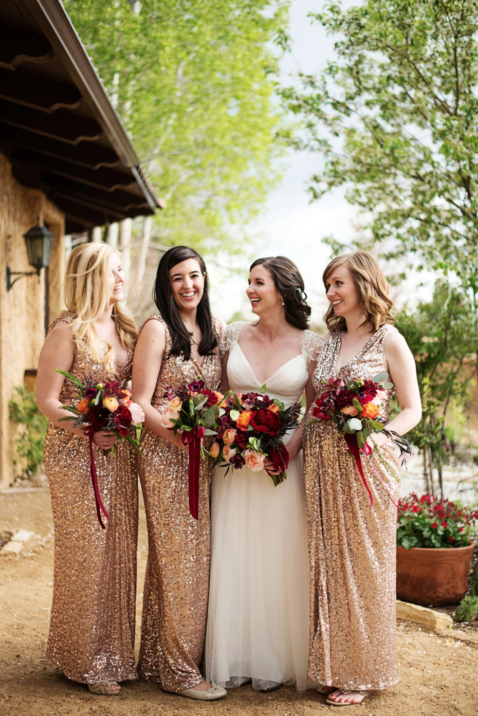 glittering gold bridesmaid dresses