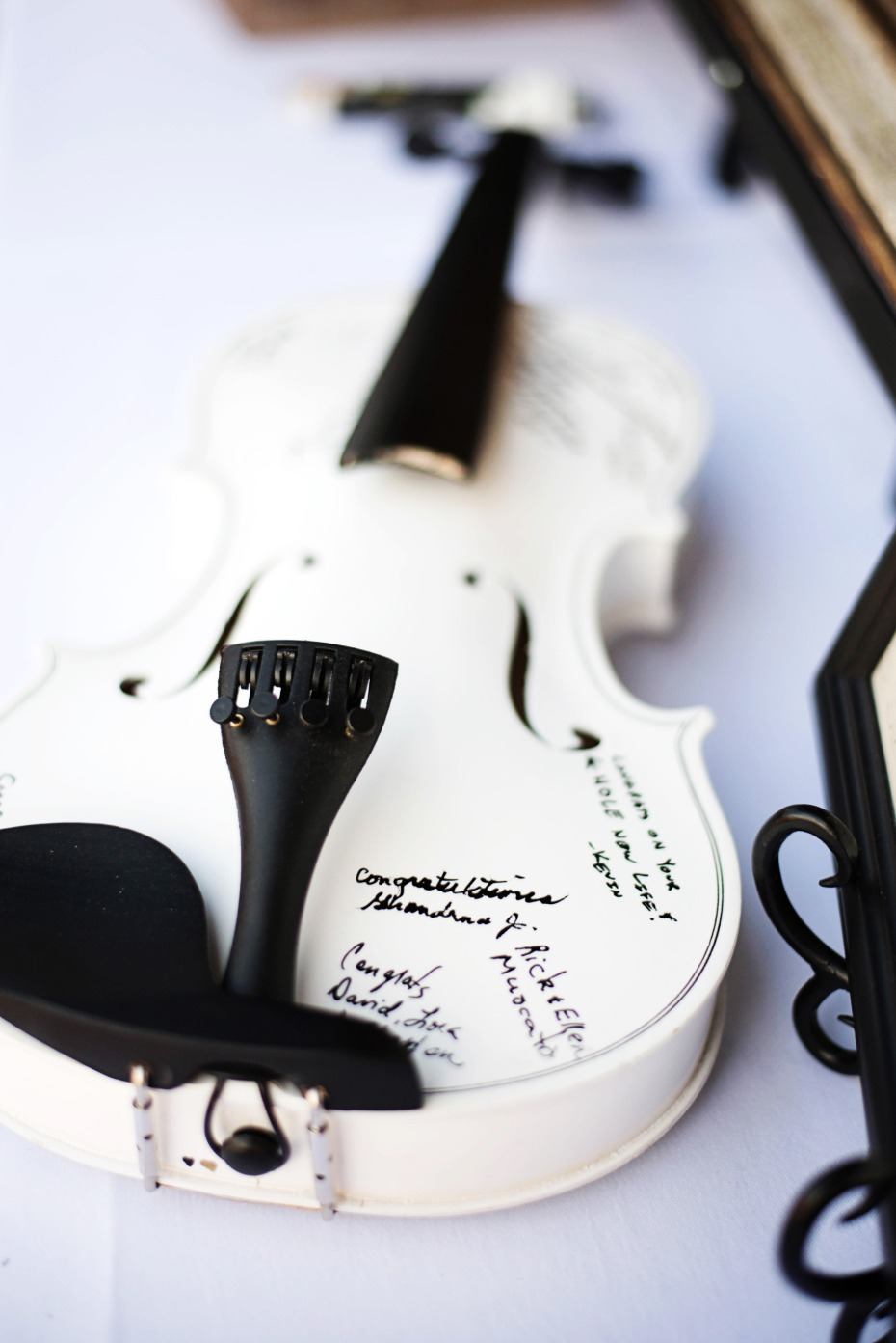 violin wedding guest book