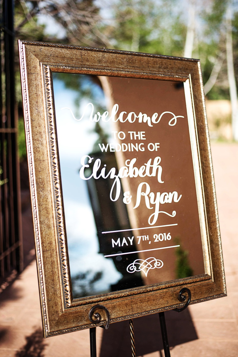 framed wedding welcome sign mirror
