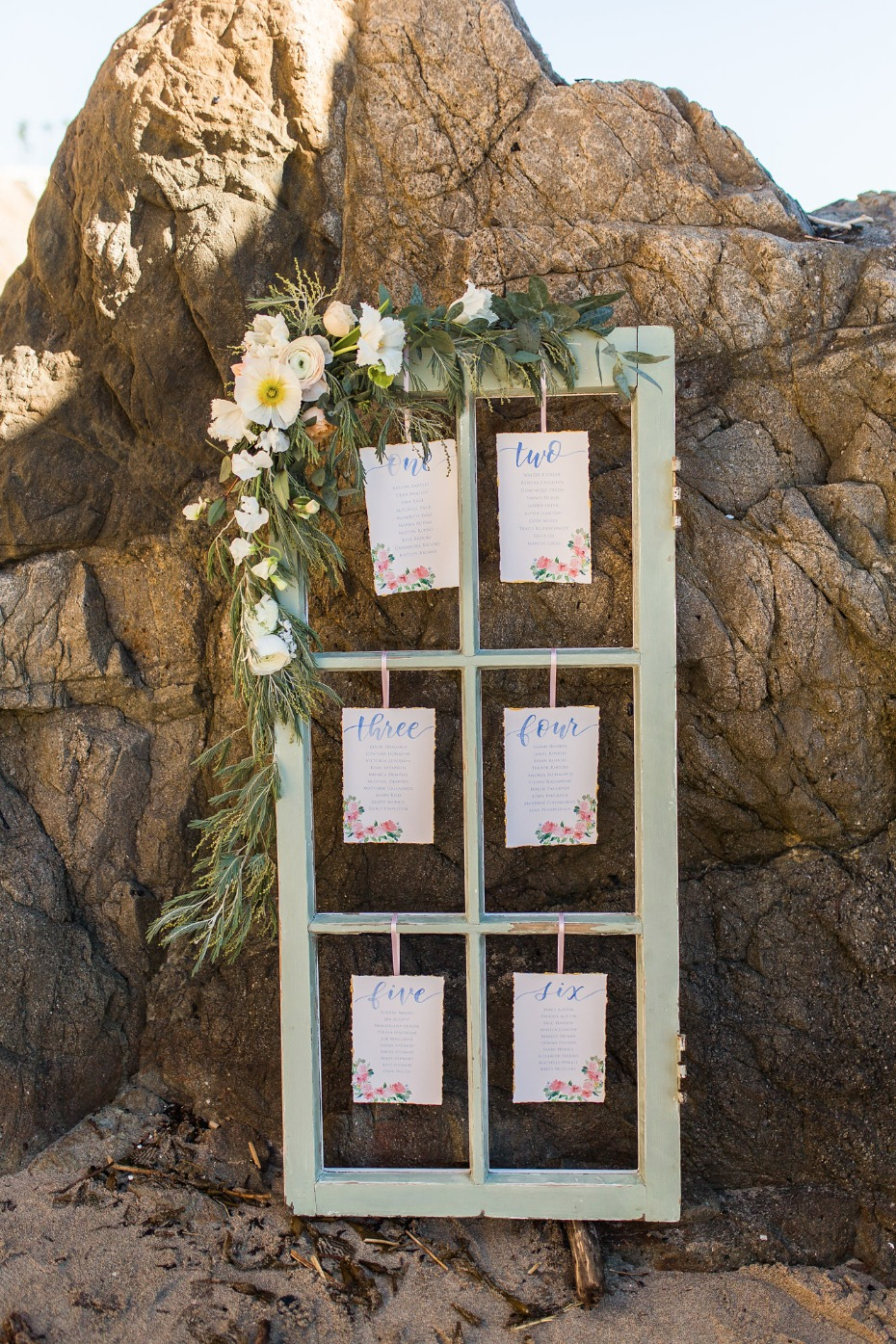 vintage window seating assignment display