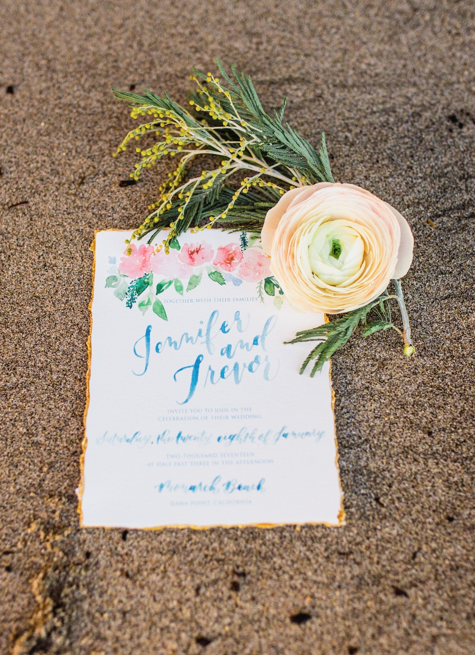 watercolor and calligraphy wedding invitation