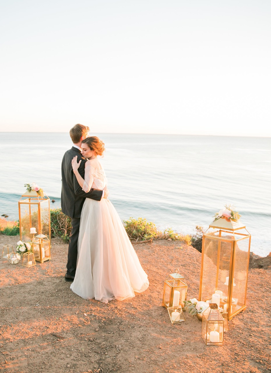 sunset wedding ceremony at the ocean