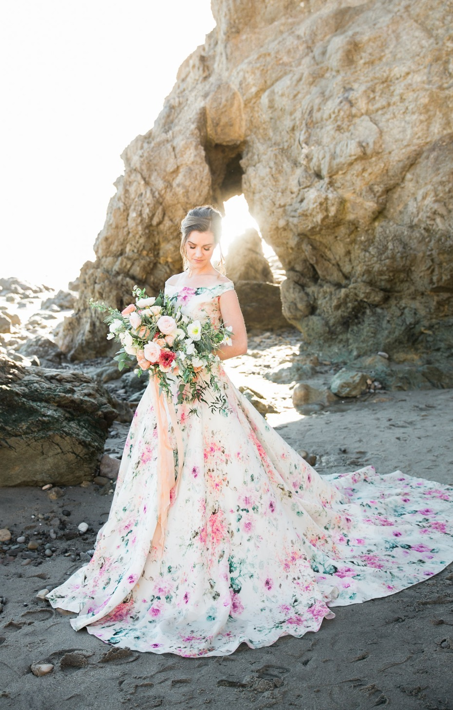 floral print wedding dress to die for