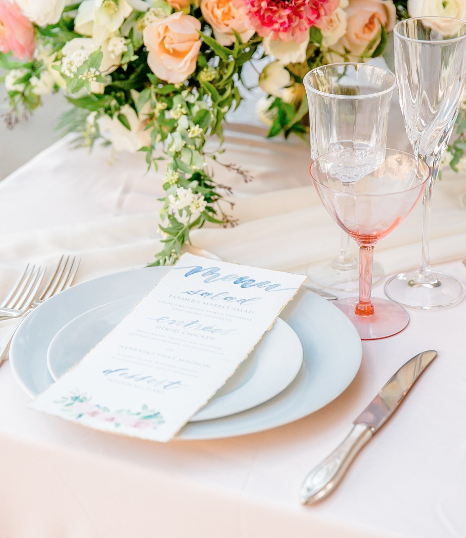 soft blush and peach table setting for the summer