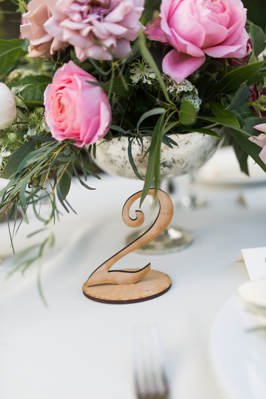 Wood cut table number