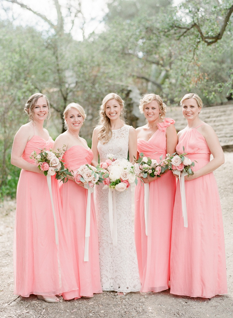 Mix n match pink bridesmaid dresses