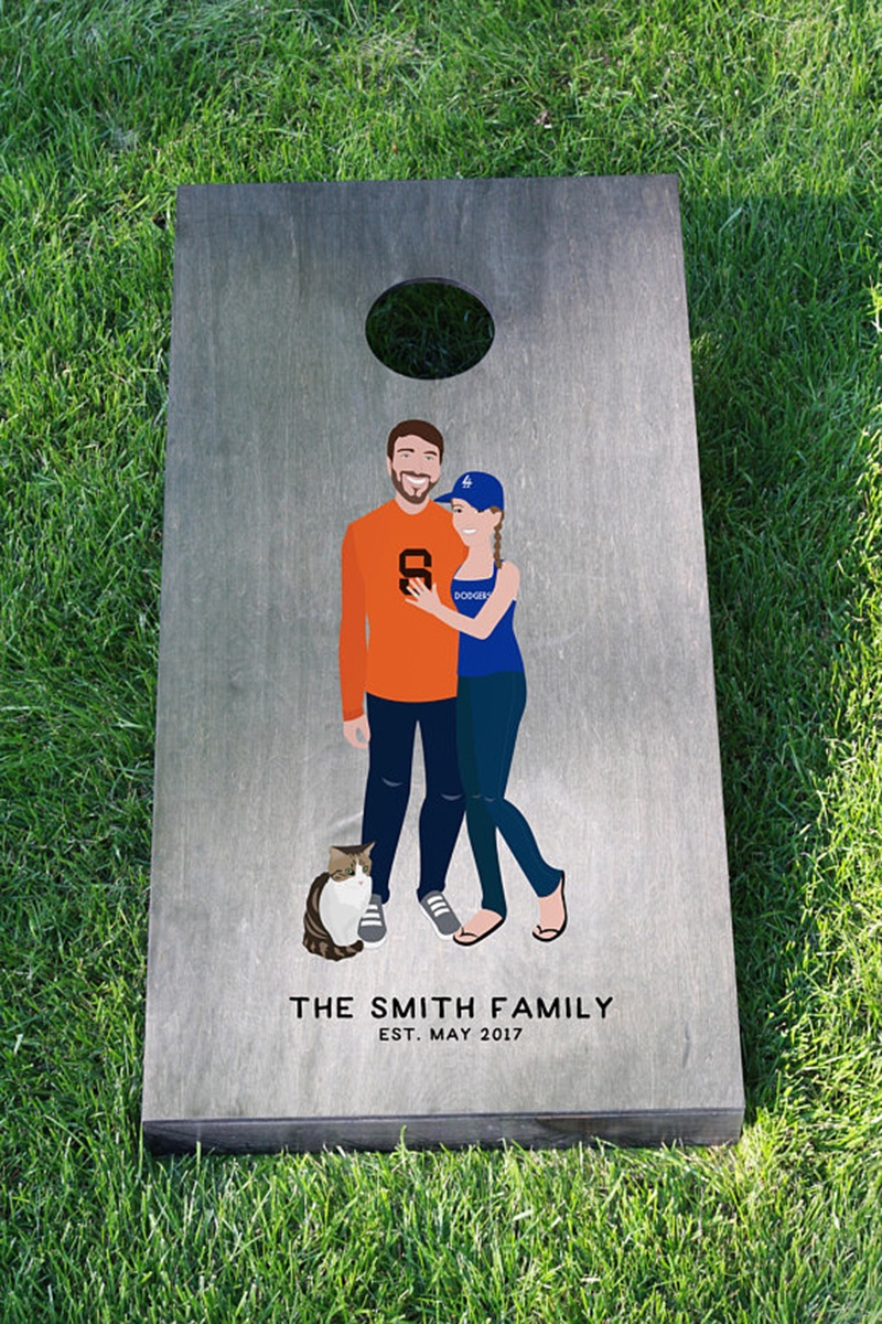 Miss Design Berry's custom cornhole boards are the PERFECT gift for any newly engaged or married couple! This personalized cornhole