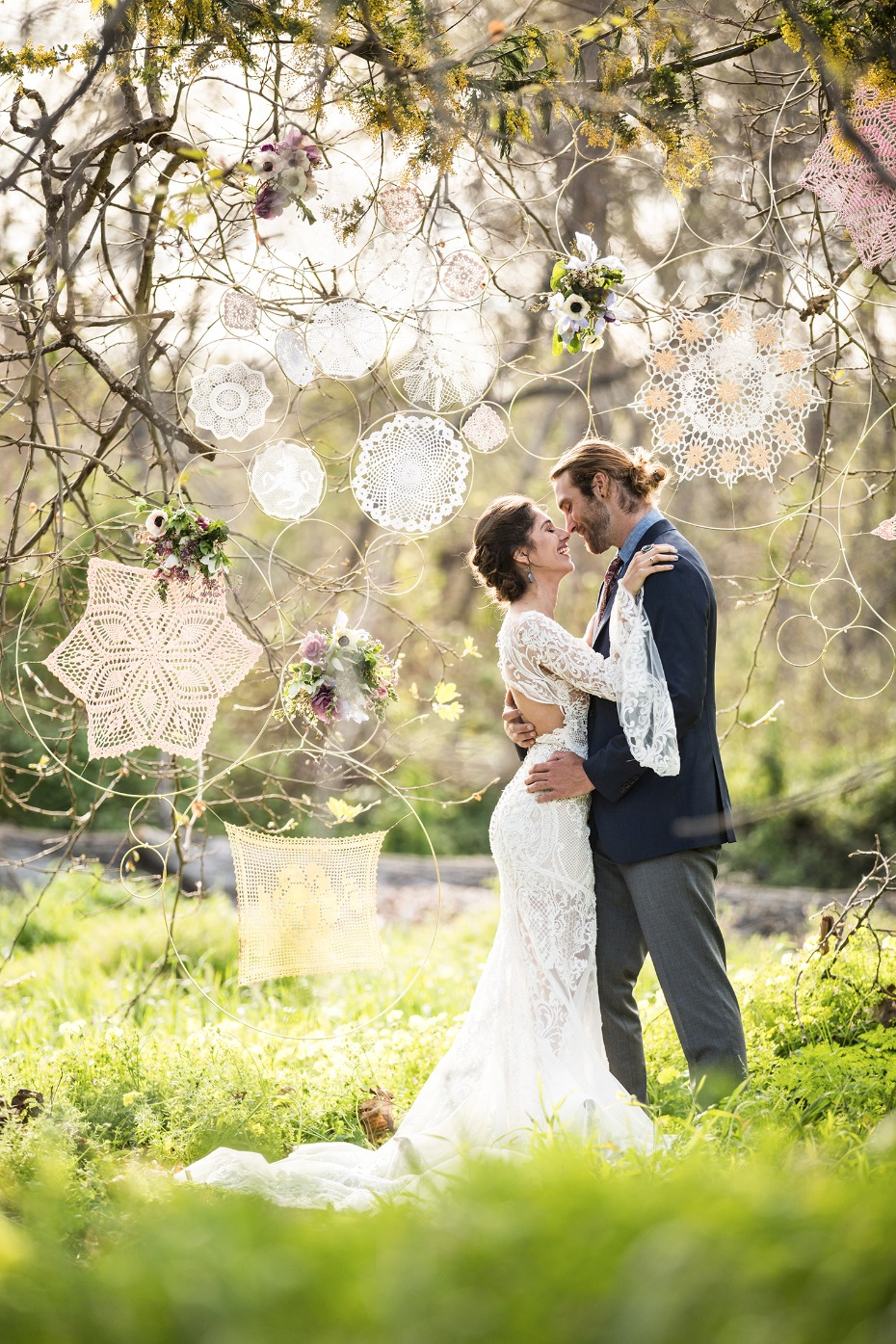Lace flower backdrop