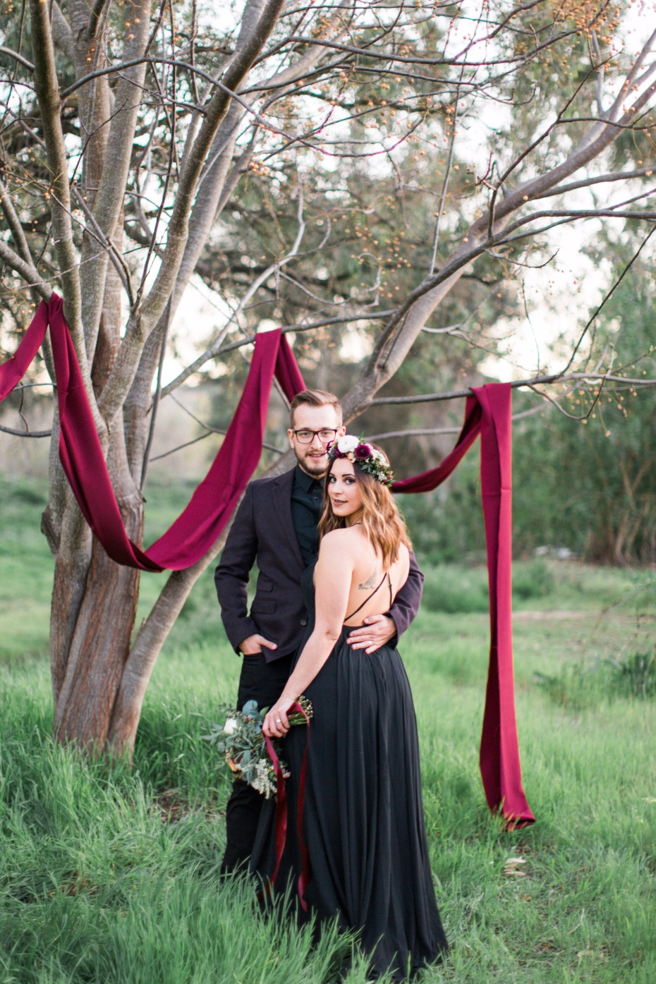 black and burgundy wedding style