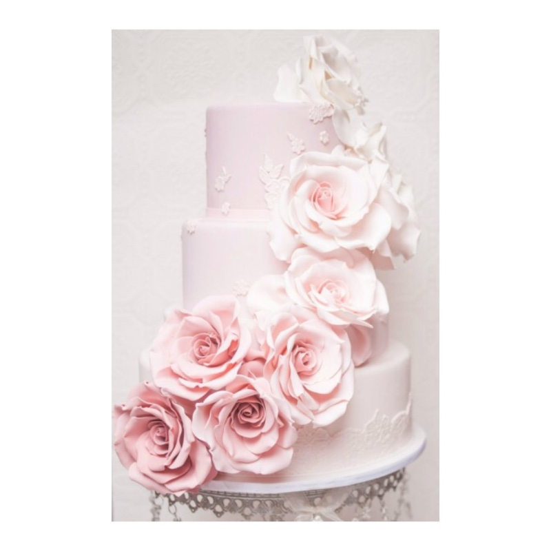 Cascading Flowers Wedding Cake on Chandelier Cake Stand