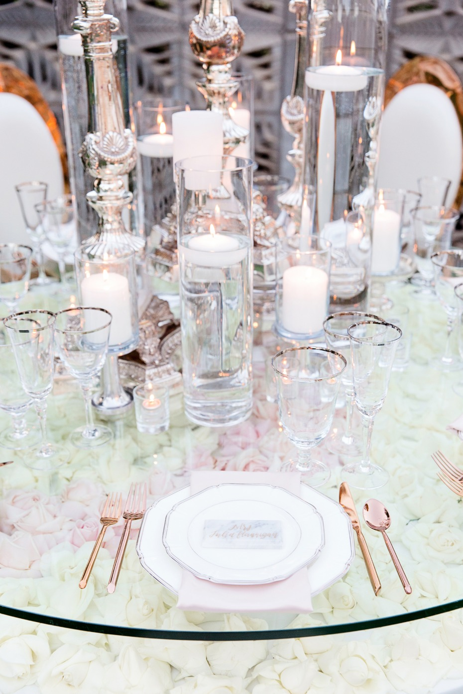 rose gold and glass wedding table