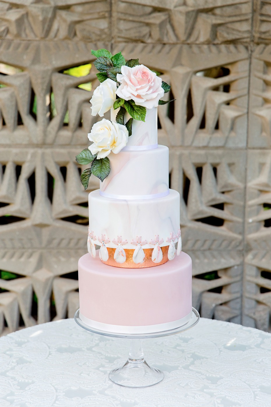 wedding cake with a marble and rose gold vibe