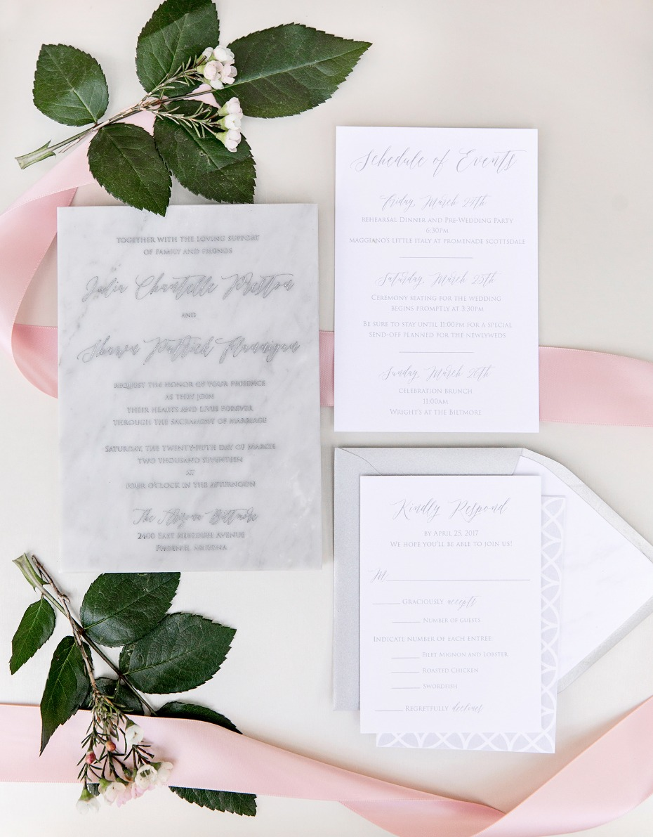 marble engraved wedding invitations