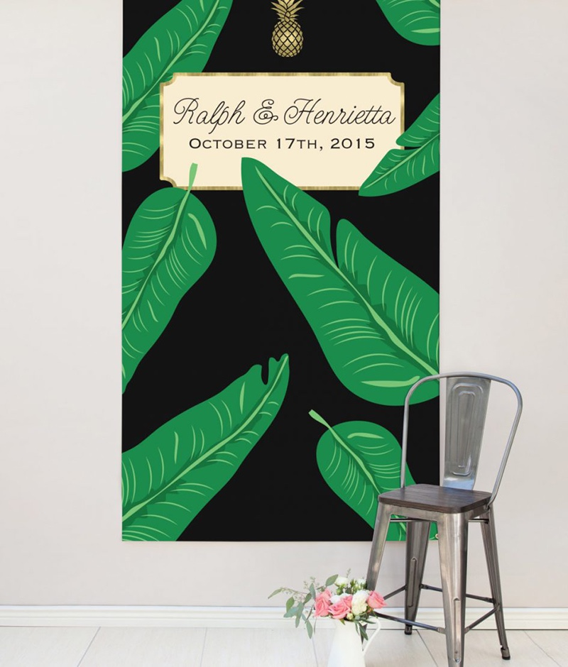 Miss Design Berry's resort wedding backdrop features banana leaves and makes the perfect wedding reception decor. It is made of sturdy