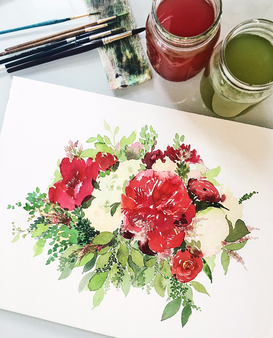 Custom bouquet watercolor from Salt Stains