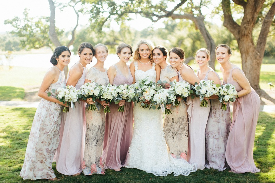 Dreamy floral and blush bridesmaid dresses