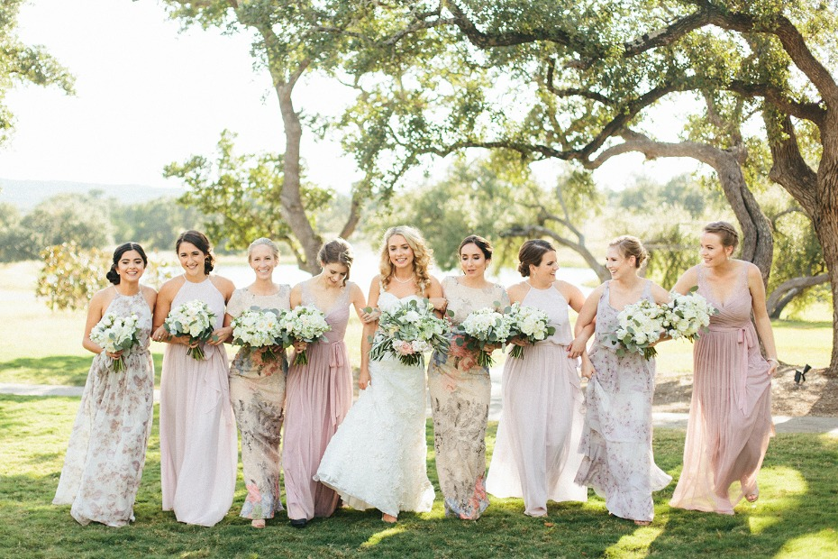Floral and blush bridesmaid dresses