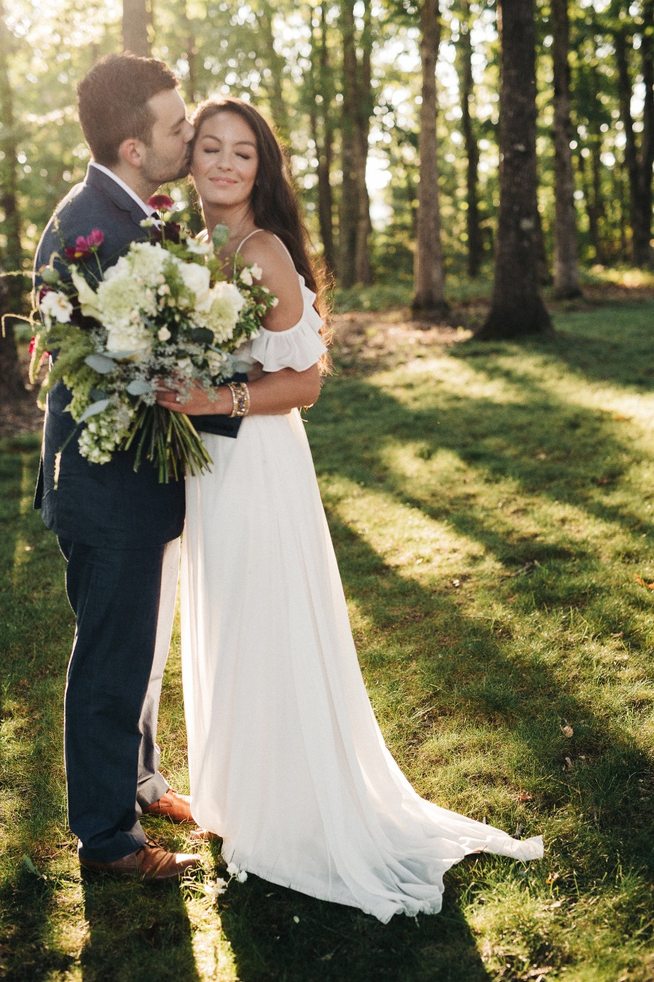 bride and groom at golden hour