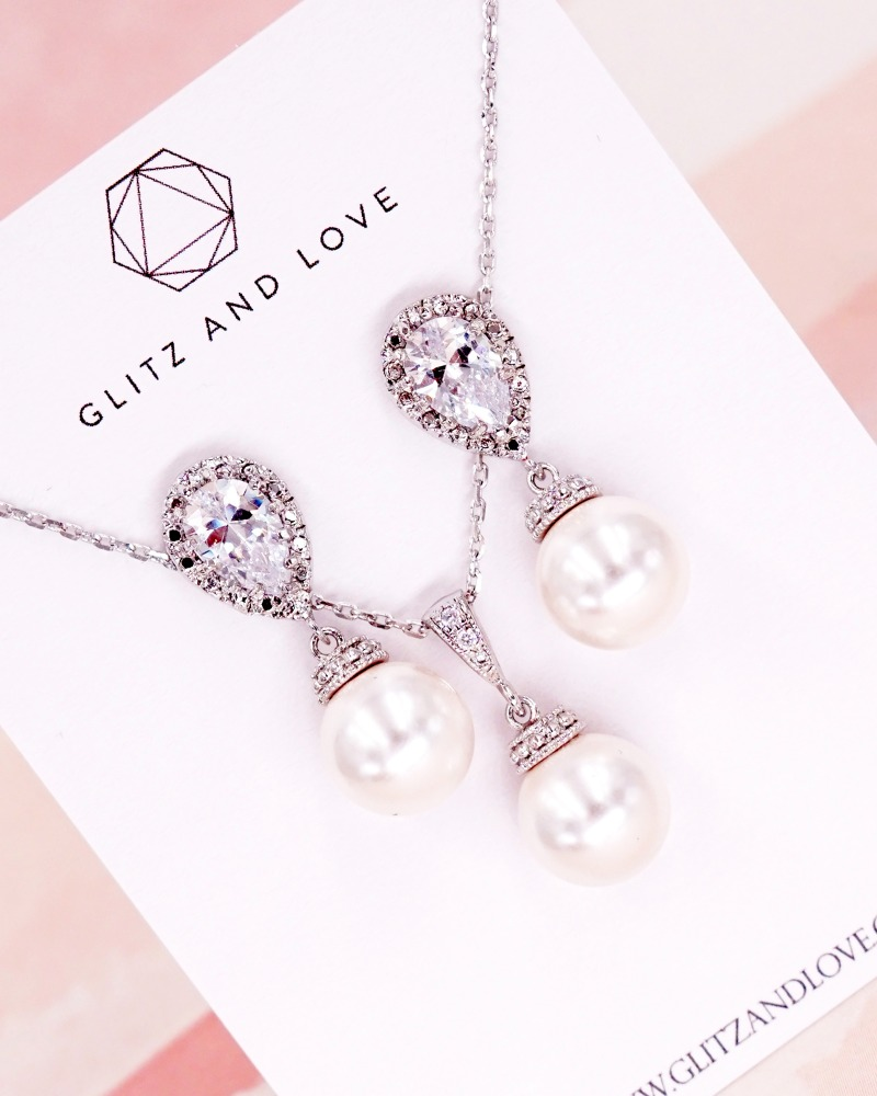 Simple Pearl Jewelry Set, earrings, necklace, cubic zirconia teardrop, brides, bridesmaids, bridal shower gifts, wedding jewelry, simple