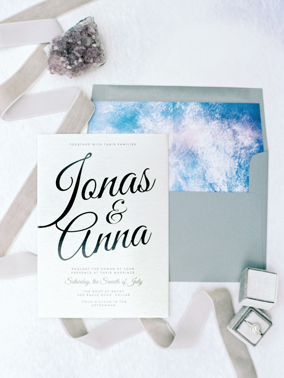 Modern blue and silver invitation suite