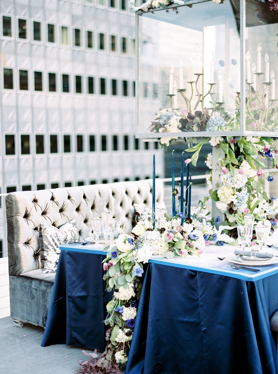Luxurious blue and silver table setting