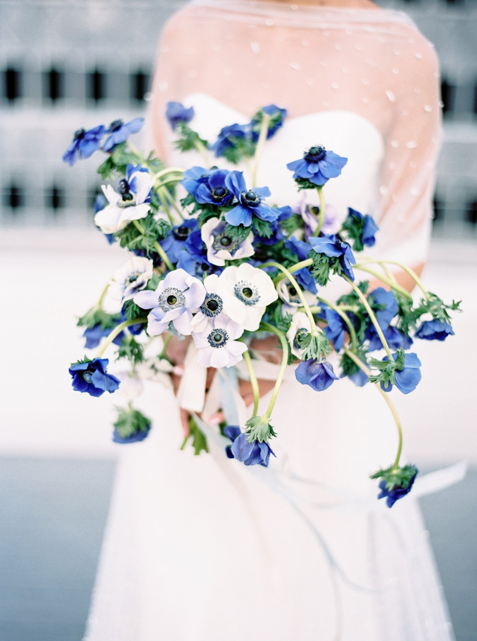Modern Silver and Blue Rooftop Wedding Inspiration in Dallas