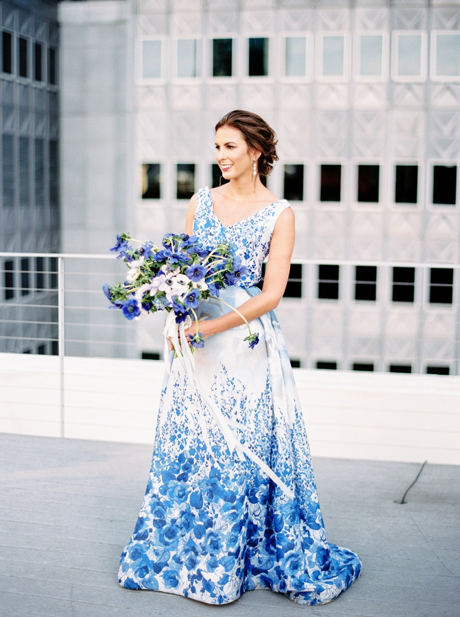 Stunning blue floral couture gown