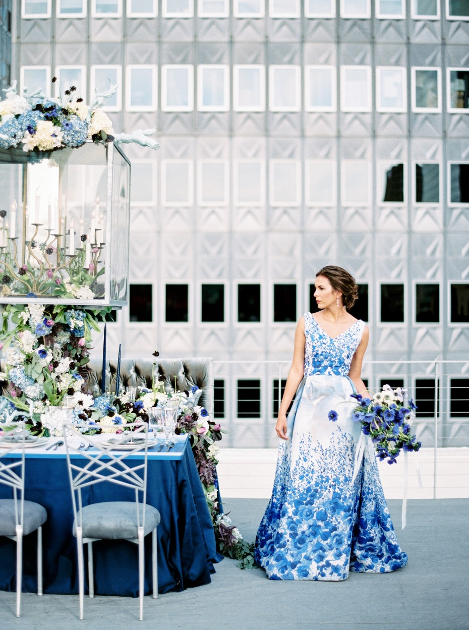 Blue and silver modern wedding inspiration