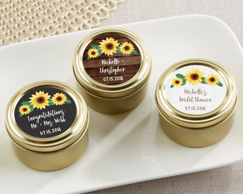 Gold candy tins are personalized with your details amidst gorgeous sunflowers. They can be filled with your favorite treats to wow