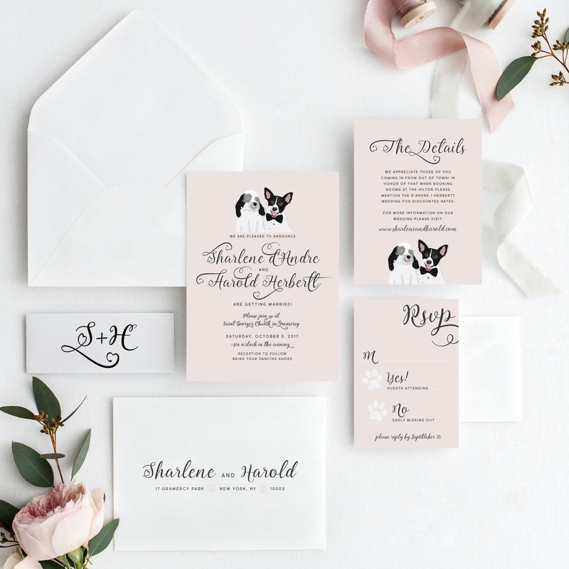Miss Design Berry's Custom Pet Wedding Invitation is the perfect invite for your friends and family who adore your pets just as much