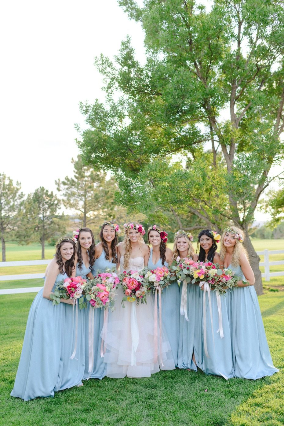 boho chic bride and bridesmaids
