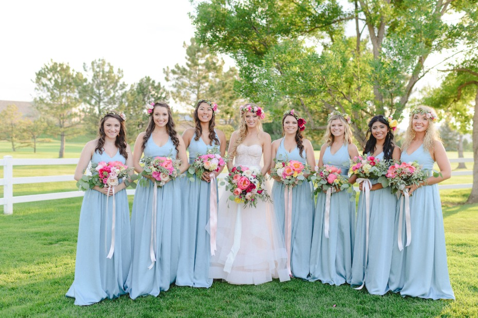 bridesmaids in sky blue gowns